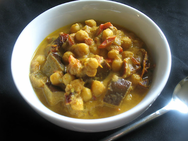 spicy chickpea and eggplant tahini stew