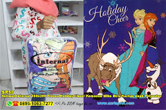 Selimut Internal 160×200 Frozen Holiday Cheer Kemasan Mika Biru Kartun Anak Polyester