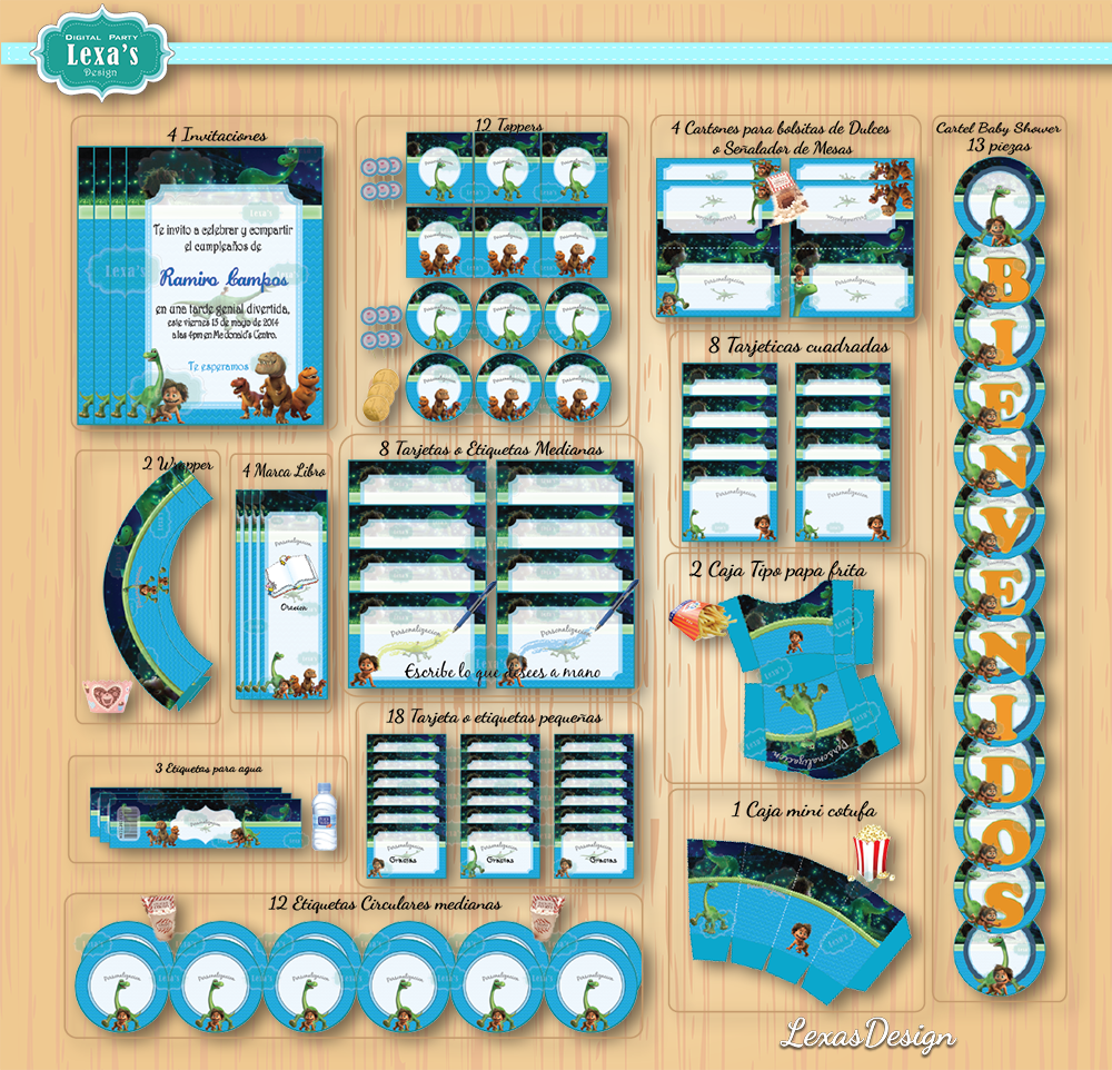Kit imprimibles para fiestas El Viaje de Arlo / El Gran Dinosaurio  gratis