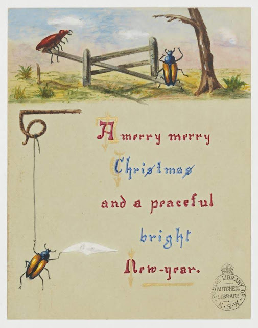 """Christmas Card design depicting christmas beetles on a fence in the bush with the words """"A Merry Merry Christmas and a Peaceful Bright New Year""""."""