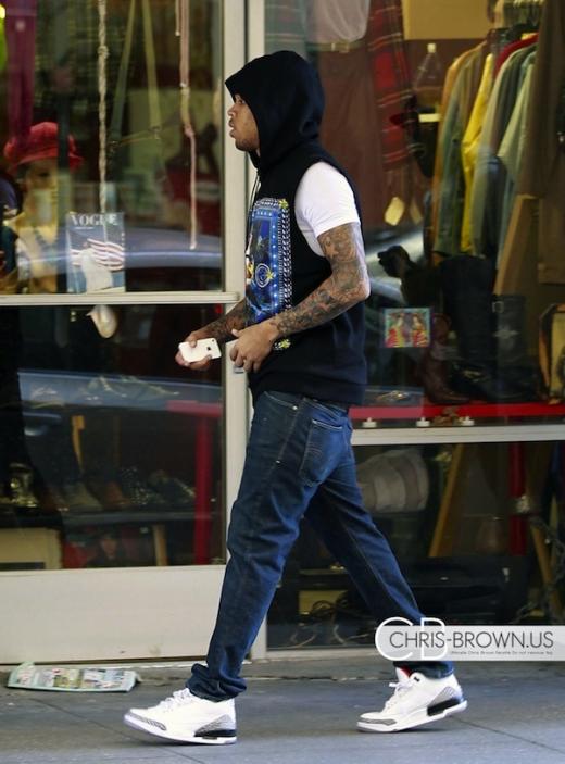innovative design f0c3c d3bf5 TalkKicks: Chris Brown Strolls in White/Cement Air Jordan 3
