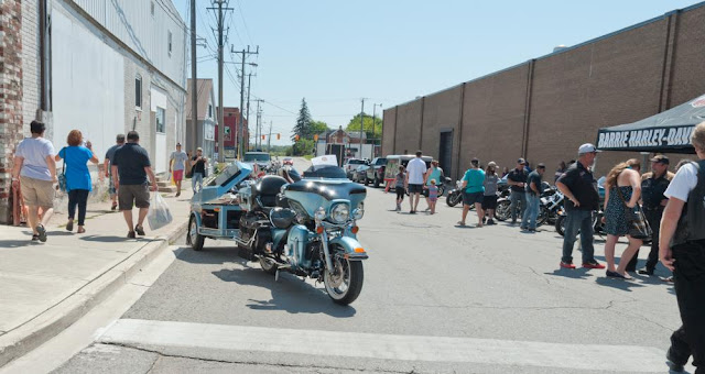 Harley Davidson cycles at the downtown Orillia Classic Car Show.