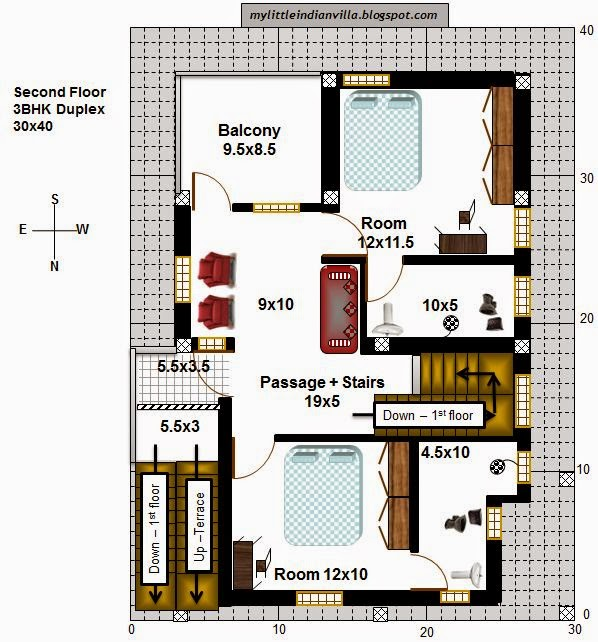 My little indian villa 40 r33 1bhk and 3bhk in 30x40 for House plans for 30x40 site