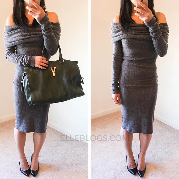 Review Nordstrom Off The Shoulder Knit Bodycon Dresses Elle Blogs