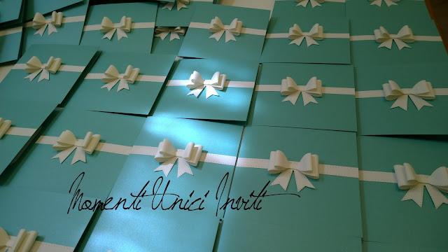 ro1 Le partecipazioni Elegance in Tiffany di Alessandro e RobertaColore Bianco Colore Tiffany Fiocchi