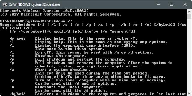 Завершение работы Windows из командной строки