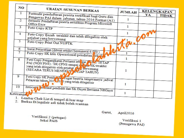 Download Contoh Surat Pernyataan, Lembar Check List Map, Formulir Pendaftaran Peserta Sertifikasi Guru PAI 2016