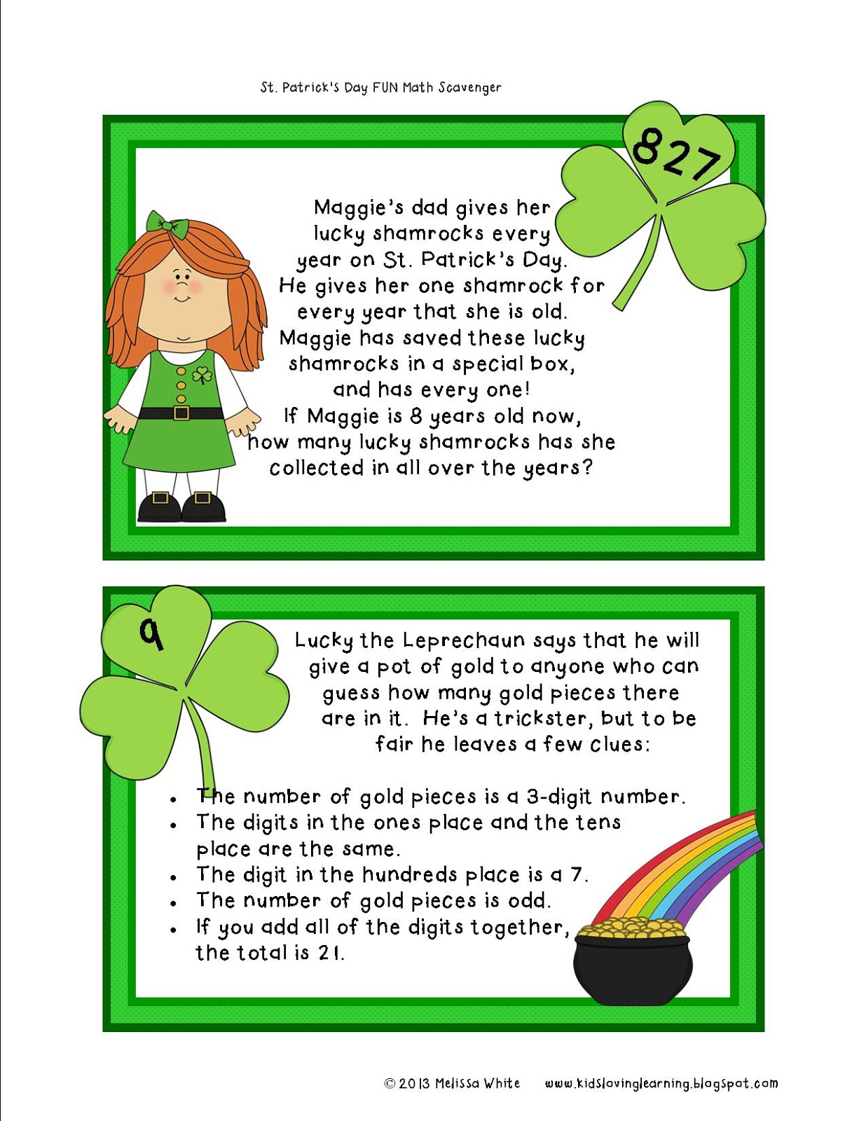 Lovin Learning St Patrick S Day Math