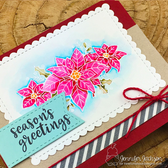 Poinsettia Card by Jennifer Jackson | Poinsettia Blooms Stamp Set by Newton's Nook Designs #newtonsnook #handmade