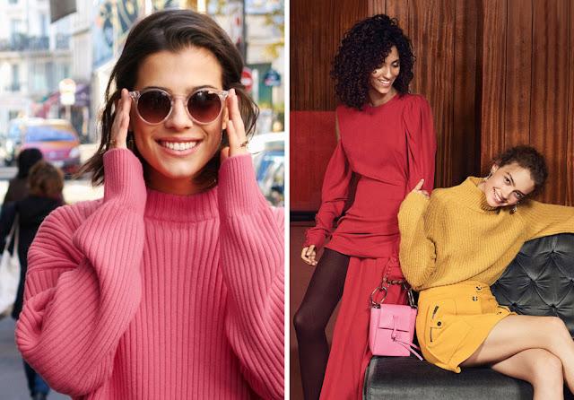 Розовый, красный и желтый яркие свитера