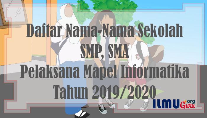 Daftar Sekolah SMP, SMA Menerapkan Mapel Informatika