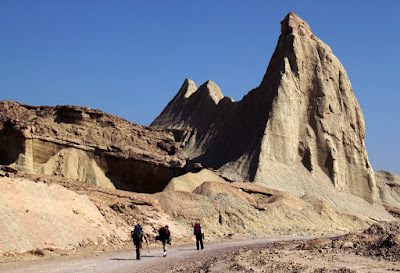 back-packers walking in the geo-park of Qeshm.