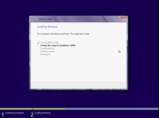 Tunggu proses Instalasi Windows 8 hingga 5 tahapan selesai sepenuhnya