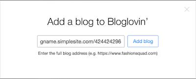 Tilføj en SimpleSite blog til Bloglovin'