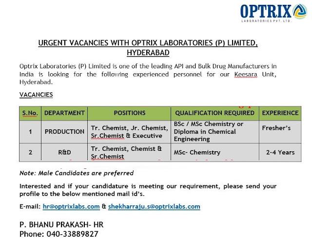 OPTRIX LABORATORIES PVT. LTD Urgent Vacancies for Freshers & Experienced Candidates