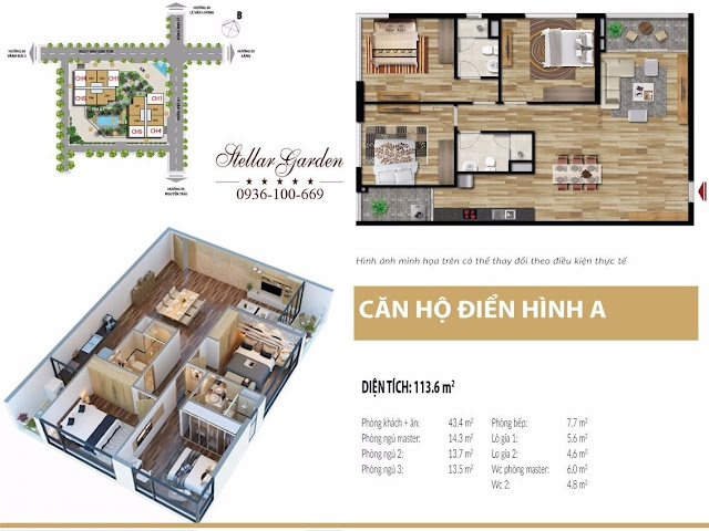 Thiết kế mặt bằng căn hộ 113,6m2 dự án Stellar garden 35 Lê Văn Thiêm