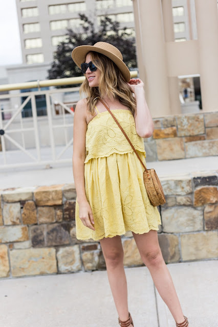 yellow eyelet dress with rattan picnic bag