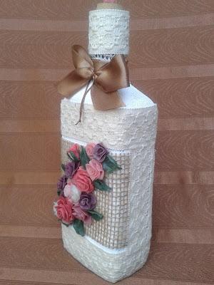 Butelka koronka różyczki z zimnej prcelany