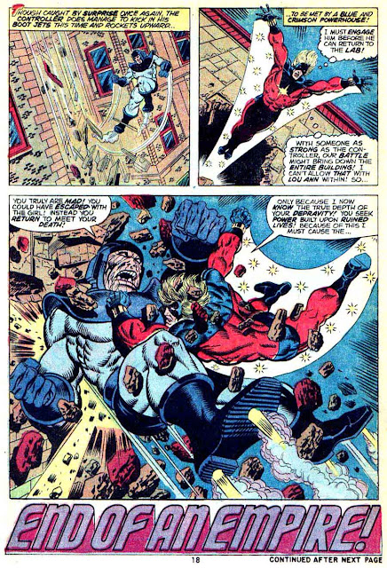 Captain Marvel #30 marvel 1970s bronze age comic book page art by Jim Starlin