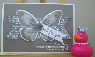 Stampin' Up! Made by Susan Merrey Independent Stampin' Up! Demonstrator, Craftyduckydoodah!, Watercolour Wings, Bold Butterfly Thinlets, Butterflies Thinlets,Tip Top Taupe,
