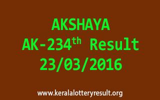 AKSHAYA AK 234 Lottery Result 23-3-2016