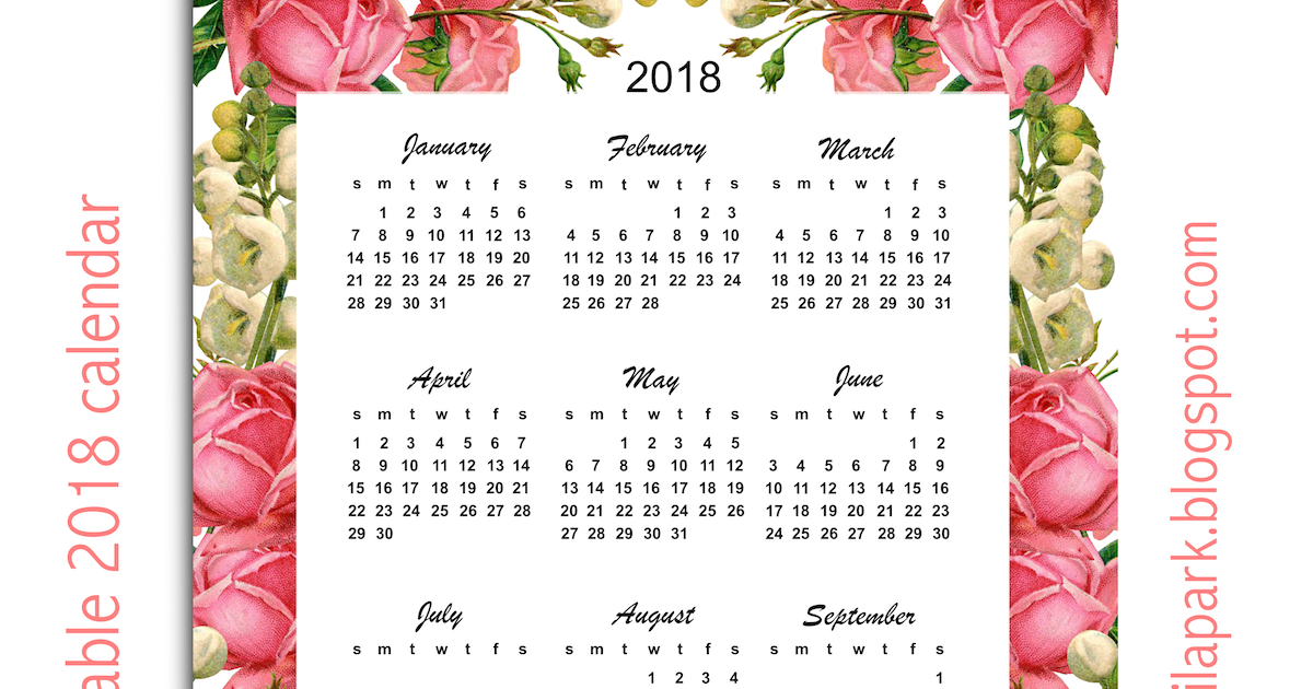 2018 calendar year at a glance printable one page grid