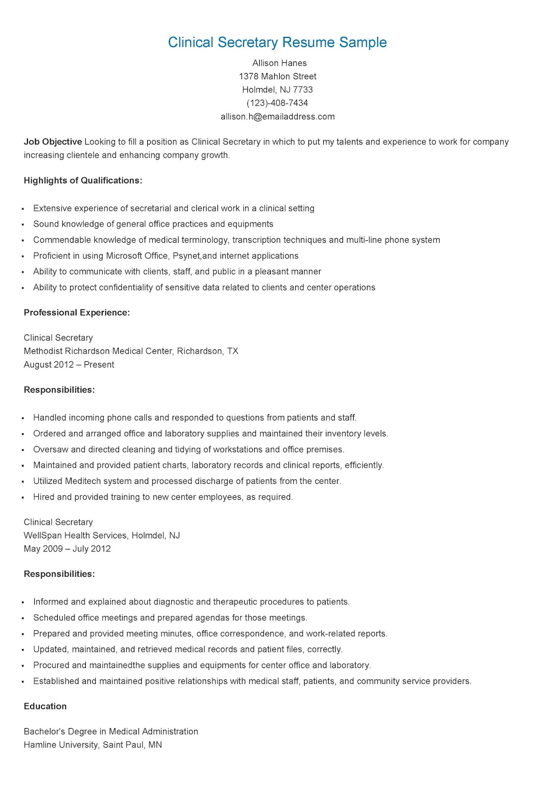 resume samples clinical secretary resume sample