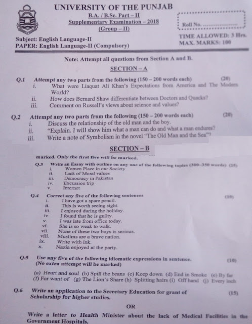 ba english past papers punjab university