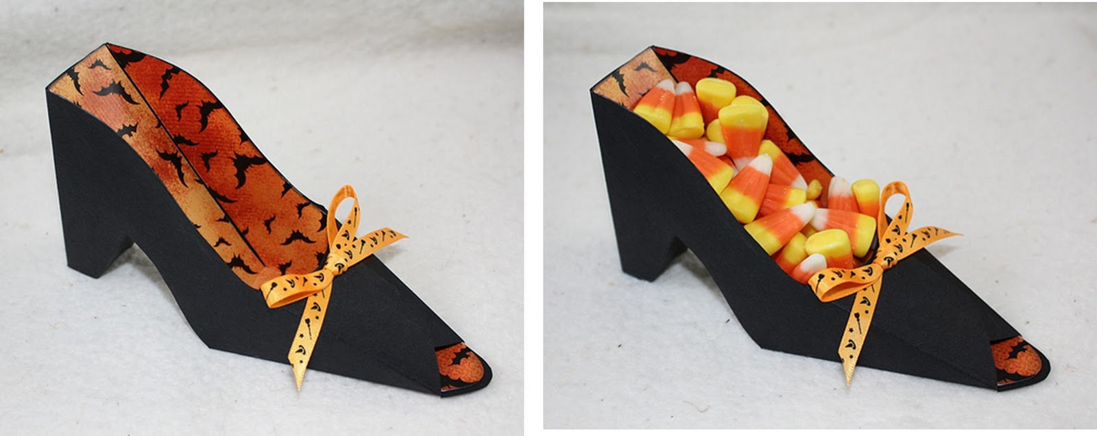 the liner paper they used for this shoe is my favorite there is even a link provided on their blog where you can download the digital paper for free - Halloween Treat Holders