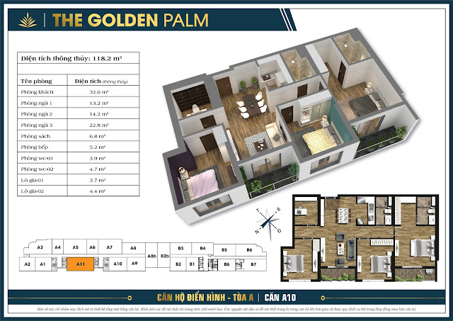 Căn A11 - 118m - The Golden Palm