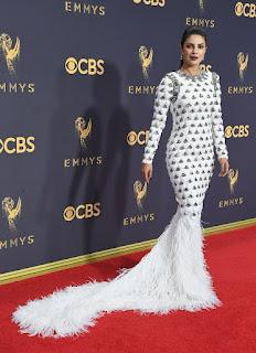 Priyanka Chopra at Emmy Awards 2017 Red Carpet Amazing White Gown