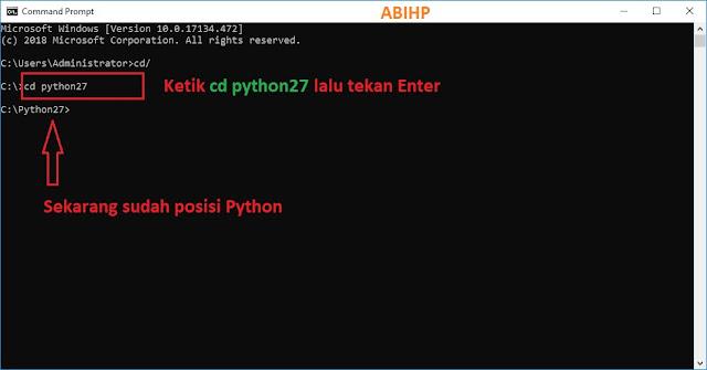Posisi python di CMD sudah siap.