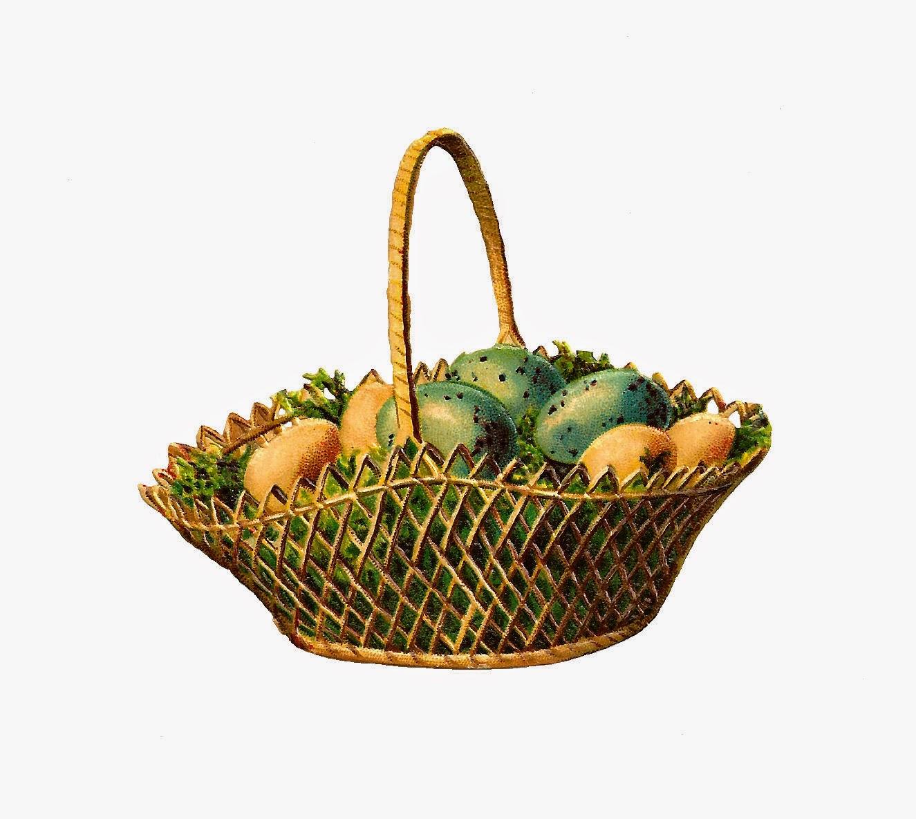 Antique Images: Free Digital Easter Basket Graphic ...