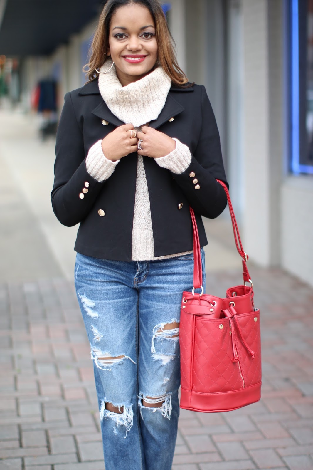 h&m military style jacket, cable knit turtleneck, american eagle ripped jeans, zara shoes, justfab bucket bag, fashion blogger, dallas blogger, detroit blogger, olivia palermo inspired, red lipstick on brown skin, budget friendly fashion, look for less