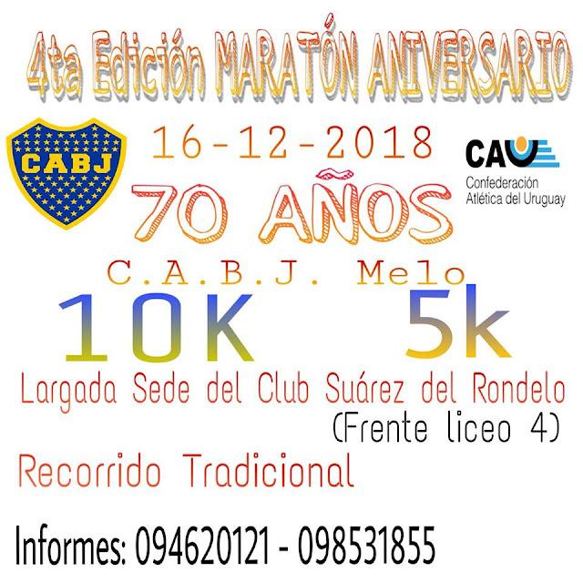 10k y 5k Corrida aniversario del club Boca Juniors de Melo (Cerro largo, 16/dic/2018)