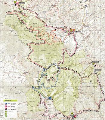 Mapa de las rutas en BTT por el Parque Natural del Moncayo