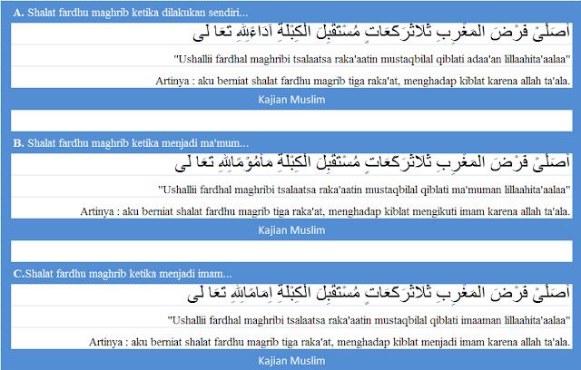 Bacaan niat shalat fardhu maghrib arab latin lengkap dengan terjemaahannya