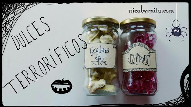 recetas de dulces para halloween y cómo hacer etiquetas para frascos (Nica Bernita)