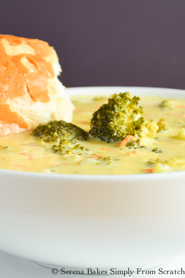 Broccoli Cheddar Soup is hearty, creamy, and easy to make! serenabakessimplyfromscratch.com