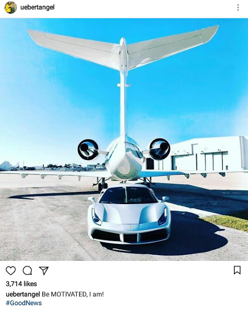 Are they his?... Zimbabwean pastor, Prophet Uebert Angel shares photo of a private jet and luxury car