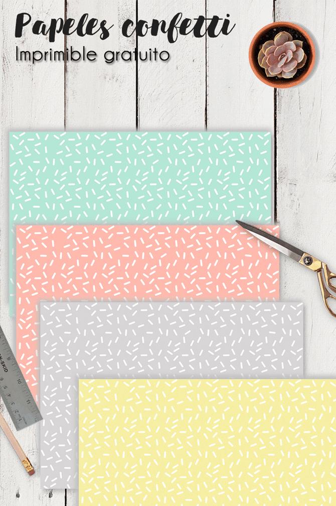 Imprimible gratuito: papeles digitales confetti para manualidades