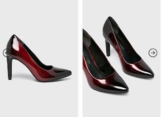 Pantofi cu toc eleganti de firma ieftini negru-visiniu ieftini Marco Tozzi
