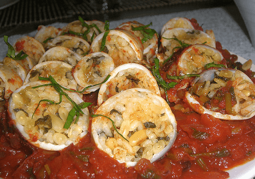 Baked Squid with Rice and Pinenuts Stuffing