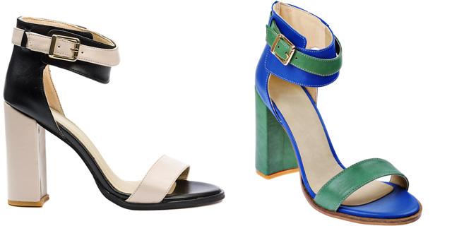 Sandale la moda cu toc gros elegante si ieftine pentru zi si birou