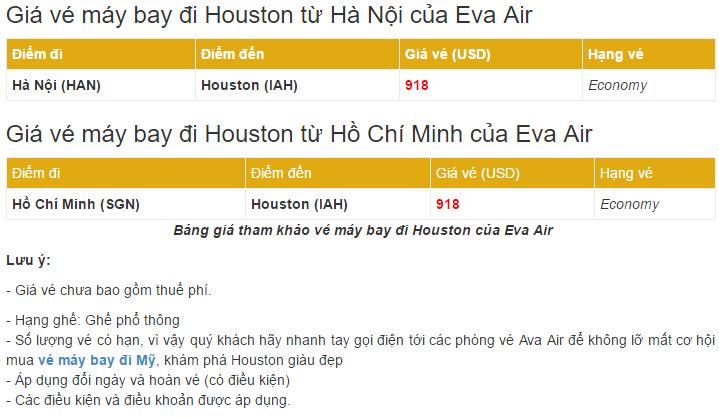 giá vé máy bay đi Houston từ Hà Nội