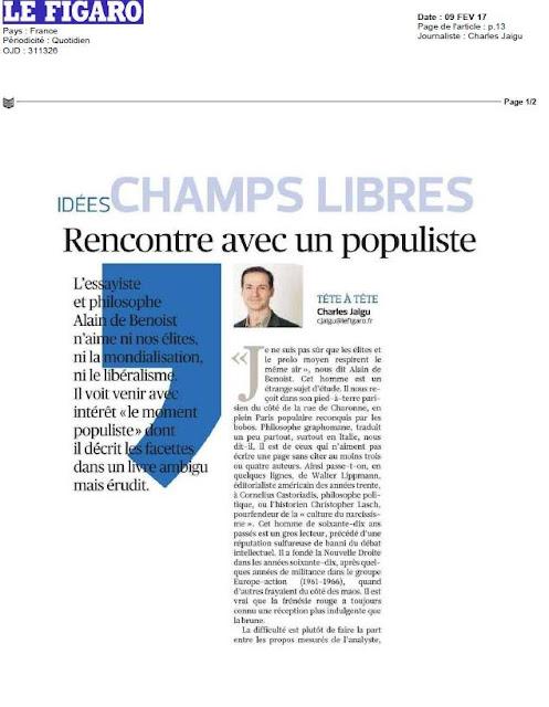 Le moment populiste Alain de Benoist article Le Figaro