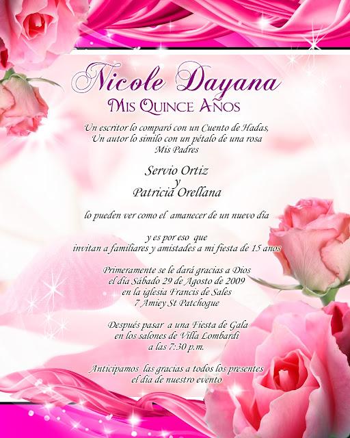 Tarjeta de Invitación para 15 Años Novedosa Rosada con Listones y Rosas Rosadas