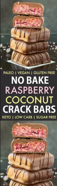 NO BAKE RASPBERRY COCONUT CRACK BARS (KETO, PALEO, VEGAN)