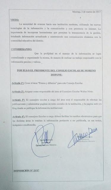 """Disposición N° 25/17: Creacion del área """"Prensa y Difusion"""""""