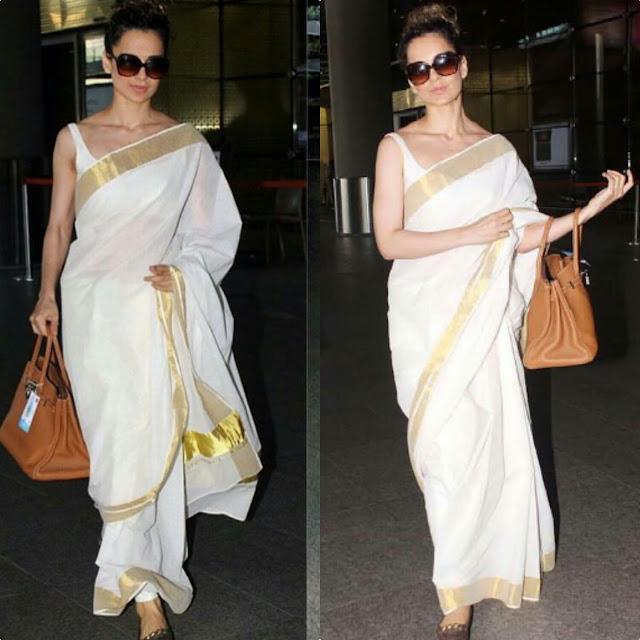 Kangana Ranaut in a white sari at airport